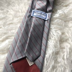Yves Saint Laurent Striped Tie Gray and Red